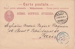 SUISSE 1880    ENTIER POSTAL/GANZSACHE/POSTAL STATIONERY  CARTE DE BALE CACHET D'ENTREE SUISSE PAR BELFORT - Marcophilie (Lettres)