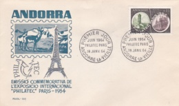French Andorra FDC 1964 Philatec (T20-5) - FDC