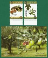 PALESTINE 2012 - FIGS & OLIVES 2v + M/S MNH ** Full Set - PALESTINIAN Fruits, Fruit, Plant, Leaf, Tree - As Scan - Palestine