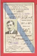 CARTE D INVALIDITE OFFICE DES MUTILES COMBATTANTS VICTIMES DE GUERRE PUPILLES DE LA NATION LE MANS 1936 GROSBOIS AUGUSTE - Documents