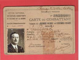 CARTE DU COMBATTANT 1935 ALBERT GUILLEMOT NE A LA FERTE BERNARD SARTHE - Dokumente