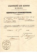 CERTIFICAT INSCRIPTIONS FAC DE DROIT TOULOUSE Du 05/12/1844 à Mr C. VERGNES Futur AVOCAT - Old Paper