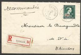 1946 - -10% - COB 724 T - Oblitéré Seul Sur Lettre RECOMMANDEE - THIMEON - 1946 -10%