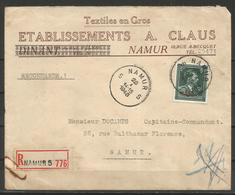 """1946 - -10% - COB 724 T - Oblitéré Seul Sur Lettre RECOMMANDEE - NAMUR - Au Dos : étiquette """"ABSENT"""" - 1946 -10%"""