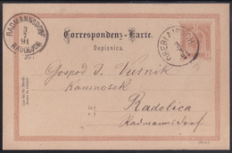 OBER LAIBACH (Vrhnika), 2 Kr Postcard, 1891 - Briefe U. Dokumente