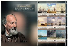 Ukraine 2018, Painting, E. Boudin, Sailing, Sheetlet Of 9v - Ukraine