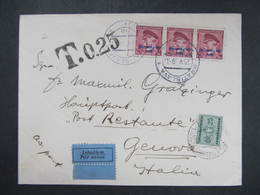 BRIEF Bratislava - Genova M. Strafporto Luftpost 29.5.1939 ///  D*35142 - Slowakische Republik