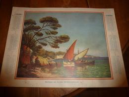 1936  Carton-Calendrier Publicitaire, Tableau ---> PÊCHEURS SUR LA CÔTE MÉDITERRANÉENNE - Calendriers