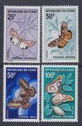 Tchad N° 157 / 60 XX  Papillons Divers, Les 4 Valeurs Sans Charnière, TB - Chad (1960-...)