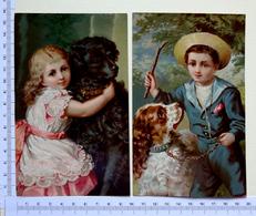 2 CHROMOS LITHOGRAPHIES   GRAND FORMAT JEUNES ENFANTS AVEC UN CHIEN - Vieux Papiers