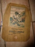Ancien Carton Vide-poche Publicitaire Alimentation Générale GOUGET & LANGREAU à Darcey (Côte D'Or)  Scène Enfantine - Targhe Di Cartone