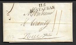 1817 LAC - DEP. TARN ET GARONNE - 115 / MONTAUBAN - Marque Linéaire 39mm X 10,5mm - Baudot Ind. 4 - Marcophilie (Lettres)