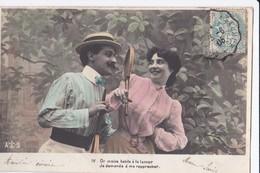 Cartes 1906 Série Sur Le Tennis Ou Badmington : Couple Raquette - Tennis