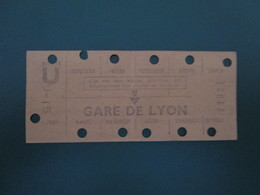 ANCIEN TICKET Carte RATP Métro Gare De LYON  Hebdomadaire De Travail - PARIS - BE - Subway