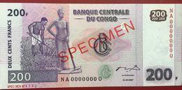 CONGO 200 FRANK SPECIMEN UNC CONDITION BANKNOTE - Congo