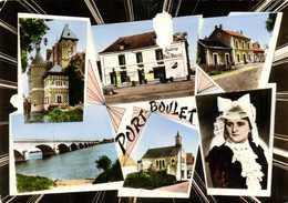 CPSM  Grand Format PORT BOULET  Multivues Colorisée RV Timbre 15F Beau Cachet Hexagonal Port Boulet - France