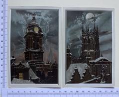 2 CHROMOS LITHOGRAPHIES  GRAND FORMAT...CLOCHER....ANGES QUI S'ENVOLENT - Vieux Papiers