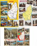 07 ARDECHE  / LOT DE 3 CARTES GEOGRAPHIQUES - Maps