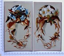 2 CHROMOS LITHOGRAPHIES  GRAND FORMAT..ASSEMBLAGE DE FLEURS - Vieux Papiers