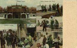 China, CANTON GUANGZHOU, Steamer And Wharf, Street Sellers (1910s) Postcard - China