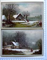 2 CHROMOS LITHOGRAPHIES  GRAND FORMAT..PAYSAGE EN HIVER...CAMPAGNE - Vieux Papiers