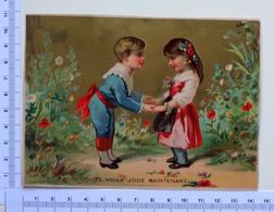 CHROMO LITHOGRAPHIE...DOREE    GRAND FORMAT.....EDITION BOGNARD ...COUPLE D'ENFANTS - Vieux Papiers