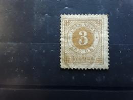 SVERIGE SUEDE SWEDEN , 1877 Chiffres Denteles 13 , Yvert No 16 A, 3 Ore Bistre Neuf * MH ,  BTB Cote 85 E - Neufs