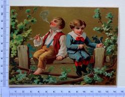 CHROMO LITHOGRAPHIE...DOREE    GRAND FORMAT.....EDITION BOGNARD ...ENFANTS....LA PREMIÈRE  PIPE - Vieux Papiers
