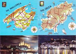 ESPAGNE / ILE DE MALLORCA ET IBIZA   / LOT DE 2 CARTES GEOGRAPHIQUES - BEAUX TIMBRES AU VERSO - Maps