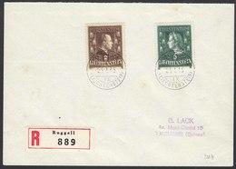 Liechtenstein 1945 R-Brief Mi.238-39 Ruggell - Lausanne  (22756 - Liechtenstein