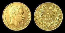 COPIE - 1 Pièce Plaquée OR Sous Capsule ! ( GOLD Plated Coin ) - 5 Francs Napoléon Tête Laurée 1864 A - France