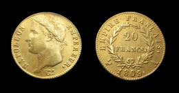COPIE - 1 Pièce Plaquée OR Sous Capsule ! ( GOLD Plated Coin ) - 20 Francs Napoléon Tête Laurée 1809 A - France