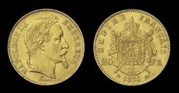 COPIE - 1 Pièce Plaquée OR Sous Capsule ! ( GOLD Plated Coin ) - 20 Francs Napoléon Tête Laurée 1870 BB - France
