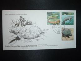 LETTRE TP PARQUE NACIONAL DA AMAZONIA 10,50 + 12,00 + TORTUE 12,50 OBL.05 JUN 79 RIO - Brésil