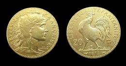 COPIE - 1 Pièce Plaquée OR Sous Capsule ! ( GOLD Plated Coin ) - 20 Francs Marianne Coq 1914 - France