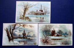 3 CHROMOS LITHOGRAPHIES...REFLETS ARGENTES... GRAND FORMAT.....PAYSAGE D'HIVER - Vieux Papiers