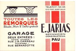 Pub Reclame Kaart Carte - Garage - Remorques E. Jarias à Pau - Advertising
