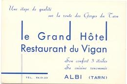 Pub Reclame Kaart Carte - Le Grand Hotel - Restaurant Du Vignan à Albi - Advertising