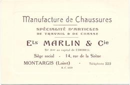 Pub Reclame Kaart Carte - Manufacture De Chaussures - Ets Marlin & Cie - Montargis - Advertising