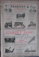 PUB 1893 - Mécaniques Nassivet Quai Baco Nantes, Prat Grenoble, Barthelemy La Ferté Sous Jare, Bateaux Gabert Lyon - Publicités
