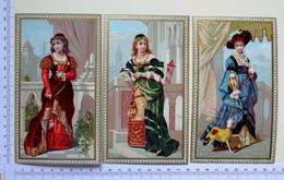 3 CHROMOS LITHOGRAPHIES..... GRAND FORMAT....FEMMES EN COSTUME D'EPOQUE - Vieux Papiers