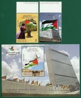 PALESTINE 2016 - PALESTINIAN FLAG RAISING DAY At UNITED NATIONS 2v + M/S MNH ** Full Set - UN, Flags, Bird, Tree, Girl.. - Palestine
