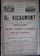 PUB 1893 - Verres St Marcel/Pont De Vivaux 13, Coop Vinicole Libourne, De Ricaumont Princeteau-Leperche Bordeaux - Advertising