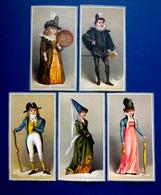5 CHROMOS LITHOGRAPHIES..... HOMMES ET FEMMES EN COSTUME D'ÉPOQUE - Vieux Papiers