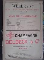 PUB 1893 - Vins De Champagne Heidsieck, E. Besserat, Werlé, Delbeck, G.-H. Mumm, Ch. Farre, Ruinart Etc..... 5 Feuilles - Advertising