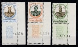 Cambodge - YV 75 à 77 N** Complete Petit Coin Daté Norodom - Cambodia