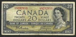 "CANADA 20 DOLLARS 1954 BEATTIE COYNE P-70b "" Devil's Face "" RARE - Canada"