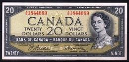 CANADA 20 DOLLARS 1954 P-80b EF+ BEATTIE RASMINSKY PREFIX X/E 1844669 - Canada
