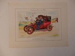 Lithographie Originale De 34cm/25cm De Guy Sabran Tirée De L'encyclopédie Automobile. Le Taxi Renault De La Marne. - Cars