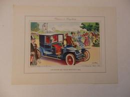 Lithographie Originale De 34cm/25cm De Guy Sabran Tirée De L'encyclopédie Automobile. Coupé De Ville Renault 1905. - Cars